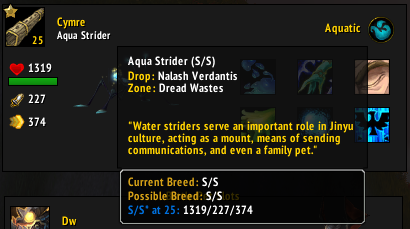 Tooltip - A pet with only one possible Breed ID (Aqua Strider)